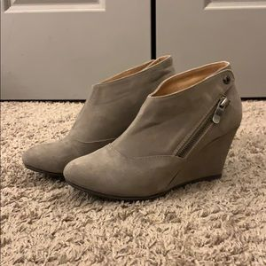 CL tan wedge zipper booties dress shoe size 7M
